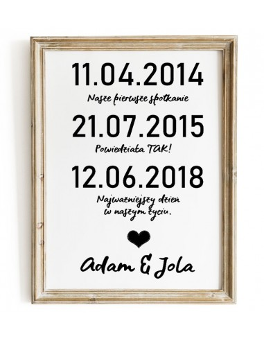 Wedding poster with important dates -...