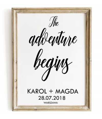 Plakat ślubny z imieniem i napisem - The Adventure begins - Pamiątka ślubna na prezent