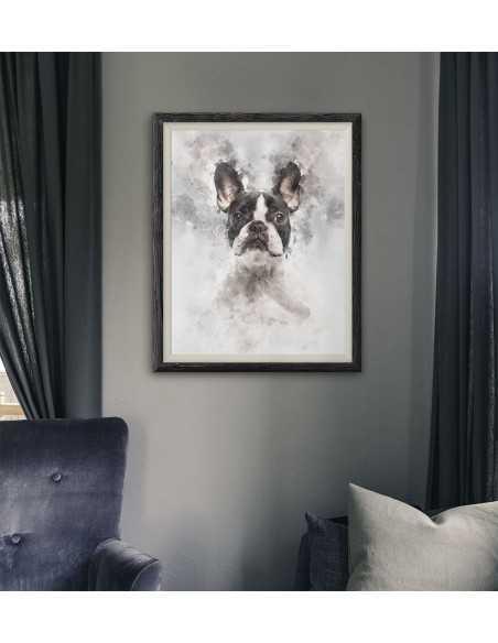 Plakat z buldogiem francuskim wykonany w akwareli. Portret buldoga francuskiego. Buldog francuski plakat