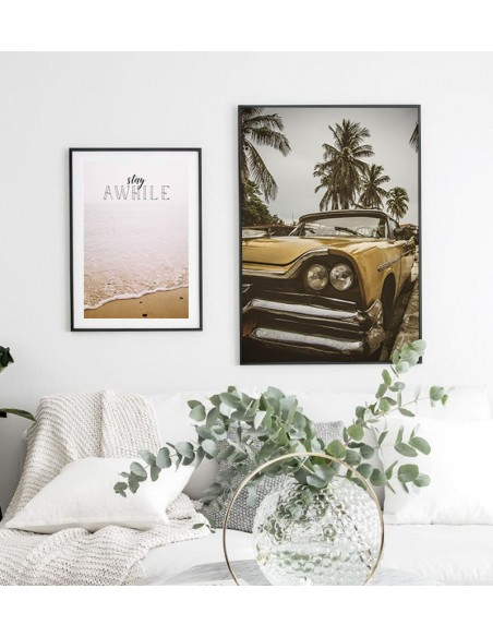 A modern poster with a Cuban green car and palm trees. Scandinavian poster