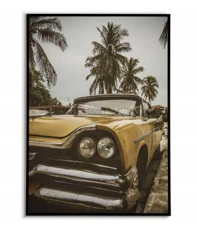 Nowoczesny plakat z kubańskim zielonym samochodem i palmami. Plakat skandynawski