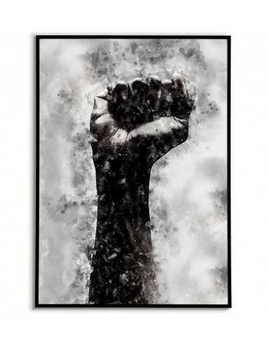 Plakat motywacyjny z dłonią i zaciśniętą pięścią. Malowany akwarelą. Idealny na ścianę do ramki