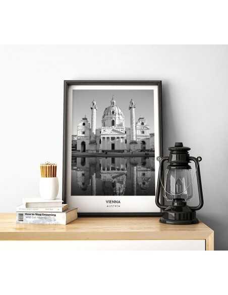 Plakat wiedeń, piękny plakat ze zdjęciem i nazwą miasta w języku angielskim. Plakat z serii Miasta Świata