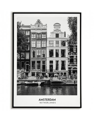 AMSTERDAM - A black and white poster...