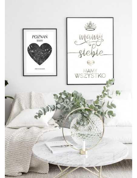 plakat z napisami dla zakochanych, mamy siebie, mamy wszystko. Idealny na prezent dla chłopaka lub dziewczyny