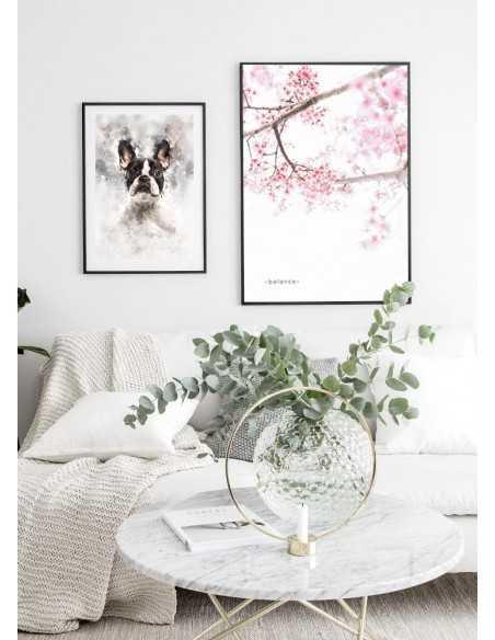 Plakat z drzewem kwitnącej wiśni i napisem do personalizacji