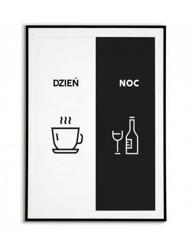Plakat do kuchni z kawą i winem podzielony na noc i dzień. Plakat idealny do jadalni lub kuchni