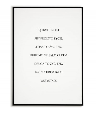 """plakat skandynawski, motywacyjny z cytatem """"dwie drogi"""" plakat typograficzny"""