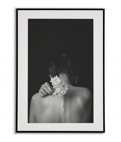 Scandinavian, photographic poster with a photo of a woman holding flowers. Black and white
