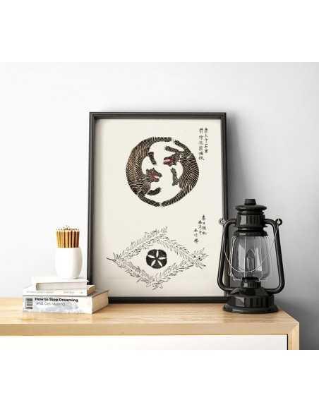 japoński plakat z tygrysami w stylu vintage jing jang