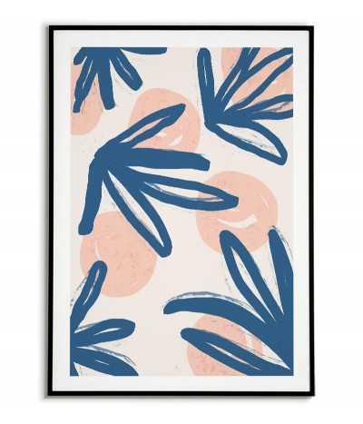 Skandynawski plakat abstrakcyjny malowany farbą przedstawia koła oraz niebieskie rośliny