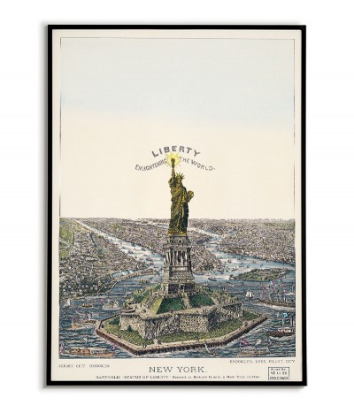 old vintage poster, illustration of the statue of liberty new york