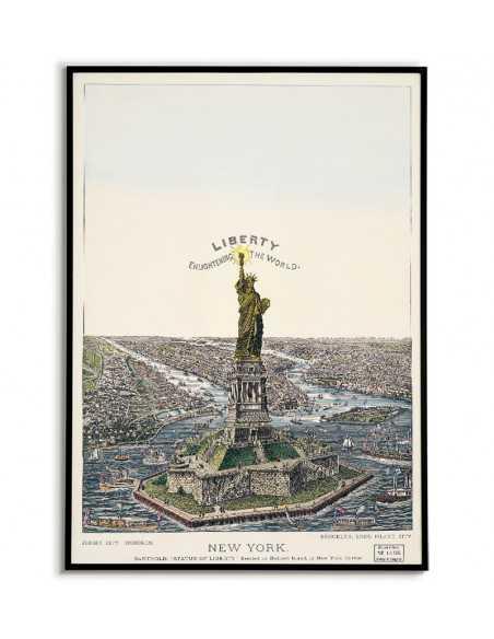 stary plakat w stylu vintage, ilustracja statua wolności nowy jork