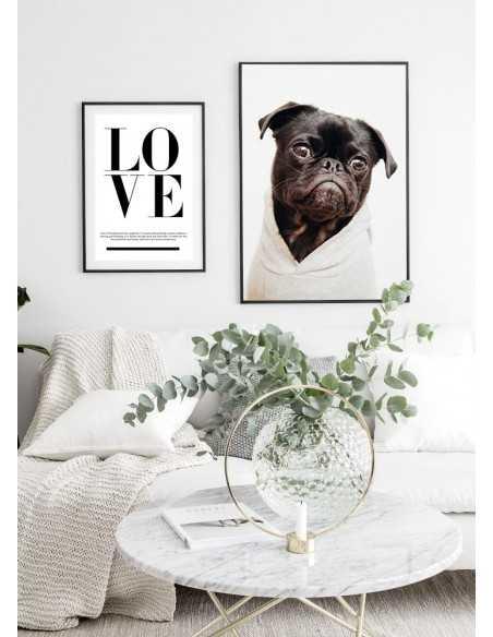 Skandynawski plakat z napisem LOVE i cytatem, czarno biały