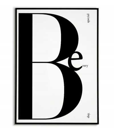 Nowoczesny plakat motywacyjny z napisem BE SPECIAL, wykonany w stylu skandynawskim.