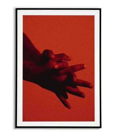 Plakat skandynawski z dłońmi, przewaga czerwonego i czarnego koloru