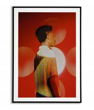 plakat skandynawski, portret fotograficzny, czerwona grafika na ścianę