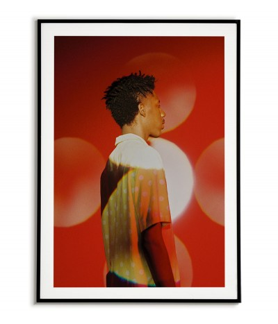 Scandinavian poster, photographic portrait, red graphics on the wall