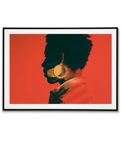 nowoczesny plakat skandynawski grafika z portretem, kolory czerwony czarny