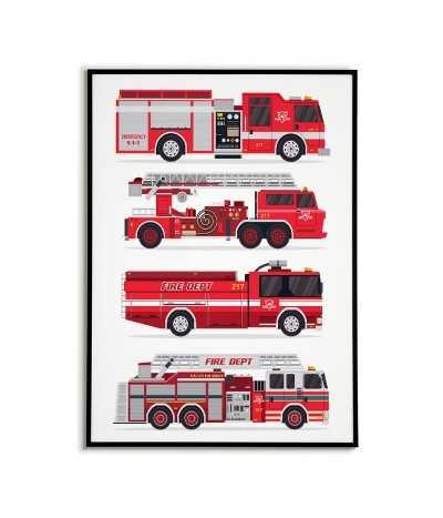 Plakaty o straży pożarnej - plakat dla dzieci z wozami strażackimi