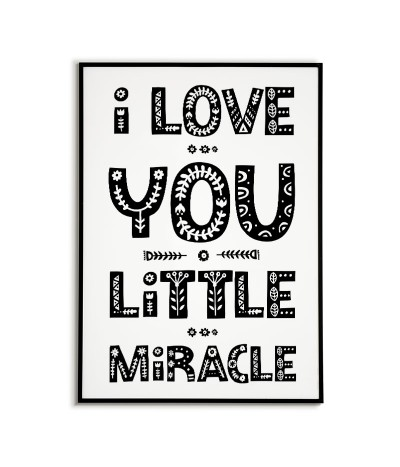 Plakat z napisami - I LOVE YOU LITTLE - grafika na ścianę dla dziecka