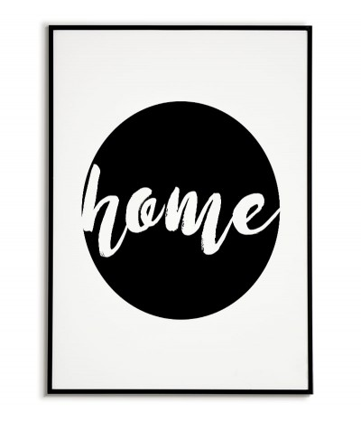 Plakat skandynawski, obraz do salonu, Grafika na ścianę z napisem Home w czarnej kuli