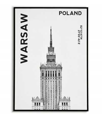 Plakat, grafika na ścianę Warszawa ze zdjęciem pałacu kultury i współrzędnymi geograficznymi