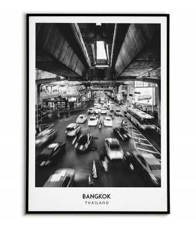 Plakat z miastem Bangkok, tajlandia. Grafika na ścianę obraz. czrno biała fotografia na ścianę
