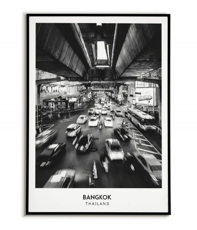 Poster with the city of Bangkok, Thailand. Picture on the wall. black and white photo on the wall