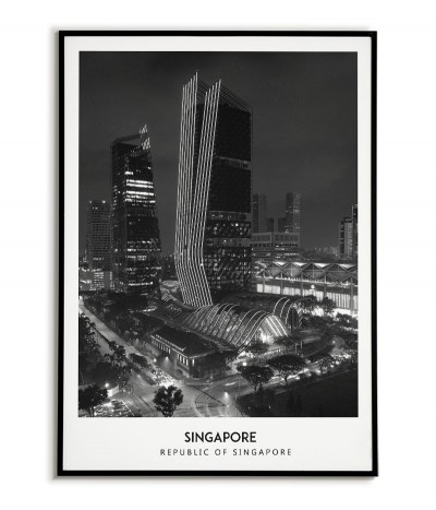 Poster with the city of Singapore. Picture on the wall. black and white photo on the wall