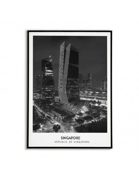 Plakat z miastem Singapur. Grafika na ścianę obraz. czrno biała fotografia na ścianę