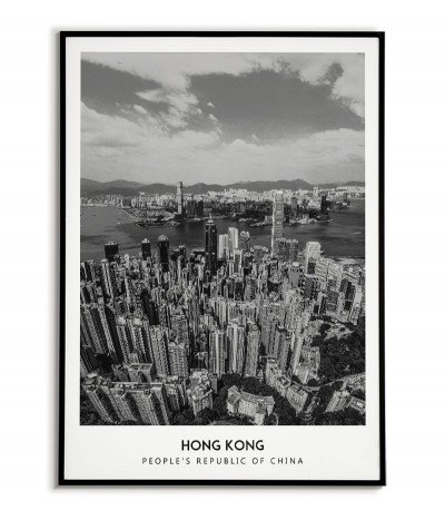 Plakat z miastem Hong Kong w Chinach, Grafika na ścianę obraz. czarno biała fotografia na ścianę