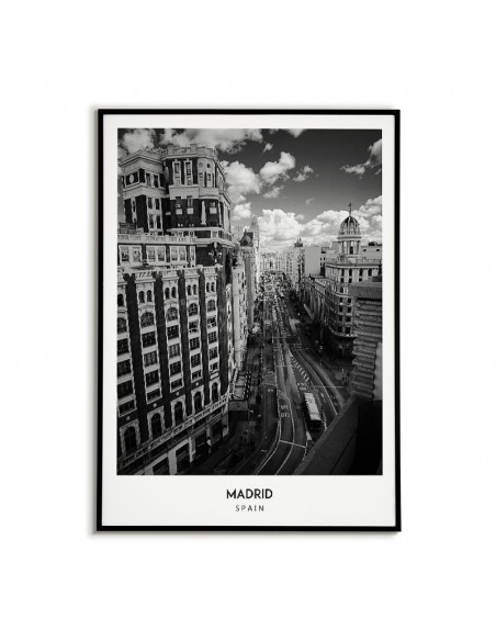Plakat z miastem Madryt w Hiszpanii, Grafika na ścianę obraz. czarno biała fotografia na ścianę