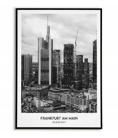 Plakat z miastem Frankfurt nad menem w Niemczech, Grafika na ścianę obraz. czarno biała fotografia na ścianę
