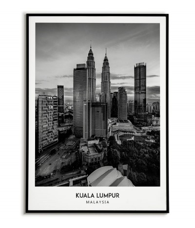 Poster with the city of Kuala Lumpur in Malaysia, Artwork for wall painting. black and white photo on the wall