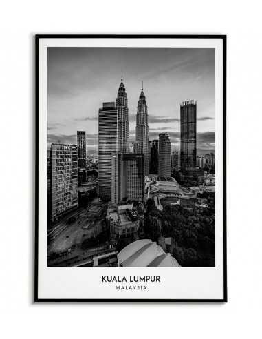 Plakat z miastem Kuala Lumpur w Malezji, Grafika na ścianę obraz. czarno biała fotografia na ścianę