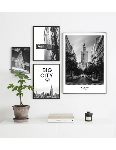 Poster with the city of Warsaw in Poland, Wall art painting. black and white photo on the wall