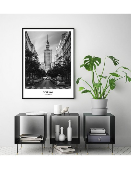 Plakat z miastem Warszawa w Polsce, Grafika na ścianę obraz. czarno biała fotografia na ścianę