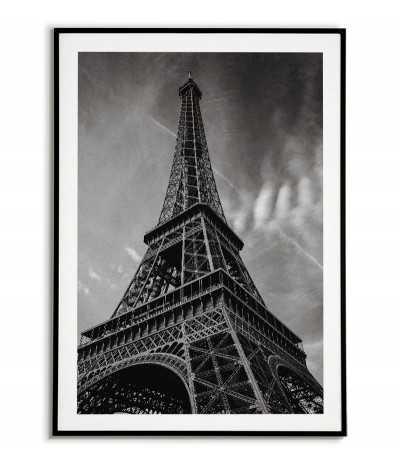plakat z wieżą Eiffla, grafika na ścianę paryż. Czarnobiała grafika fotograficzna do salonu
