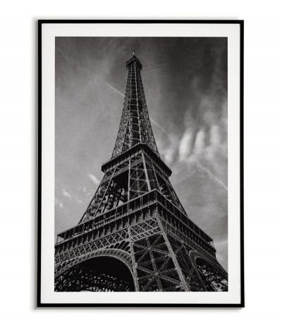 poster with the Eiffel tower, Paris wall art. Black and white photo graphics for the living room