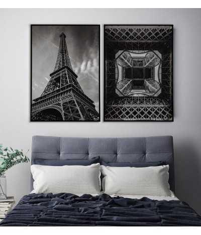 Galeria, plakat na ścianę z wieżą eiffla. Grafika na ścianę z paryżem. Czarno biała fotografia