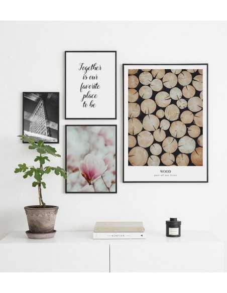 plakat, obraz z cytatem w stylu skandynawskim. grafika na ścianę z napisem Together is our favorite place to be