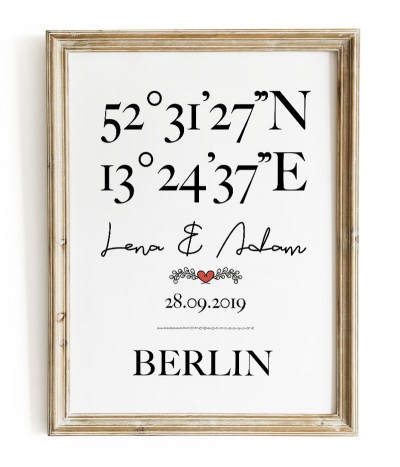 Personalized poster with geographical coordinates with names, date and place name. Wedding graphics