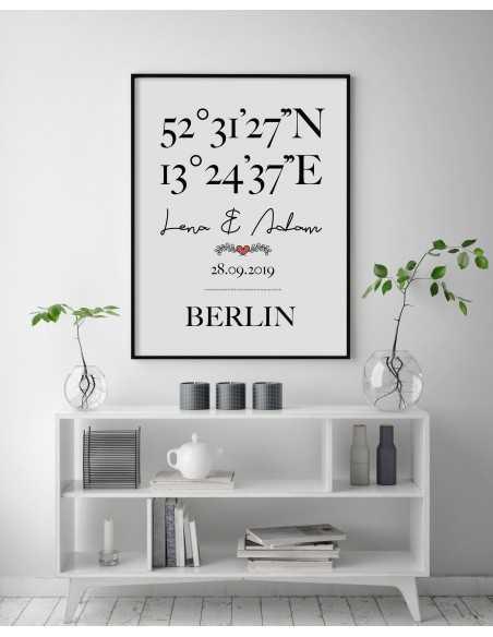 Plakat personalizowany z danymi współrzędnymi geograficznymi z imionami, datą oraz nazwą miejscowości. Grafika ślubna