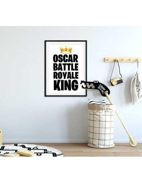 Plakat personalizowany dla gracza z imieniem i koroną. Inspirowany grami typu Battle Royale tj. Fortnite, Apex