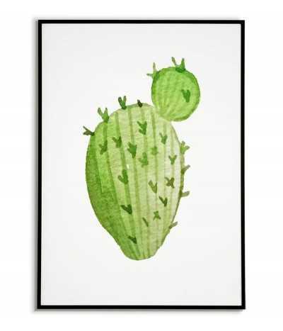 Plakat kaktus. Grafika na ścianę z kaktusem w kolorze zielonym na białym tle.