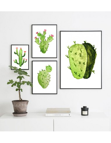 Cactus with red flowers poster - Wall...