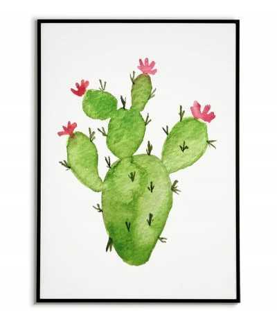 Plakat kaktus. Grafika na ścianę z kaktusem z czerwonymi kwiatkami w kolorze zielonym na białym tle.
