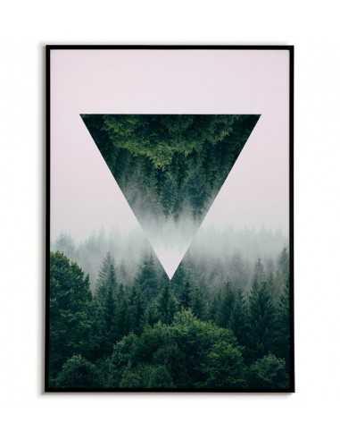 grafika na ścianę, plakat geometryczny las we mgle z trójkątem.