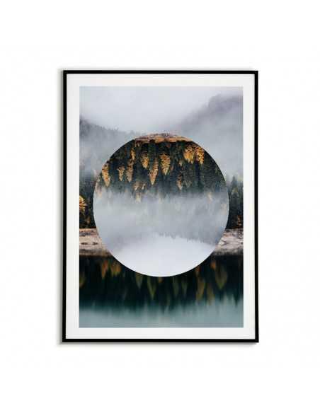 grafika na ścianę, plakat geometryczny las we mgle z kołem.
